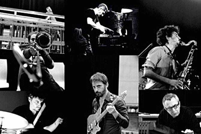 Légende : Olivier Benoit (au centre) et les musiciens participant à la soirée « Jazz Fabric » le 30 avril au Carreau du Temple. © DR