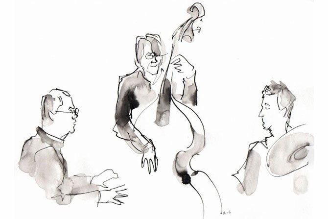 Légende : Le trio Machado, Sieverts, Merville. © Annie-Claire Alvoet