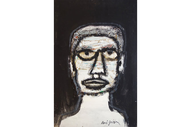 Crédit : Henri Guédon Légende : Portrait de Basquiat par Henri Guédon.
