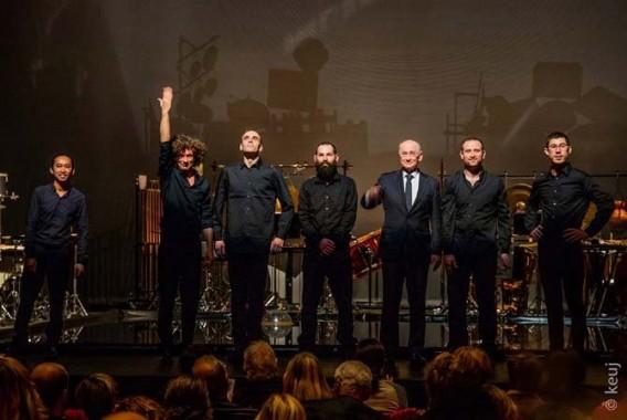 Le compositeur Hugues Dufourt et les Percussions de Strasbourg après une interprétation de Burning Bright. © keuj